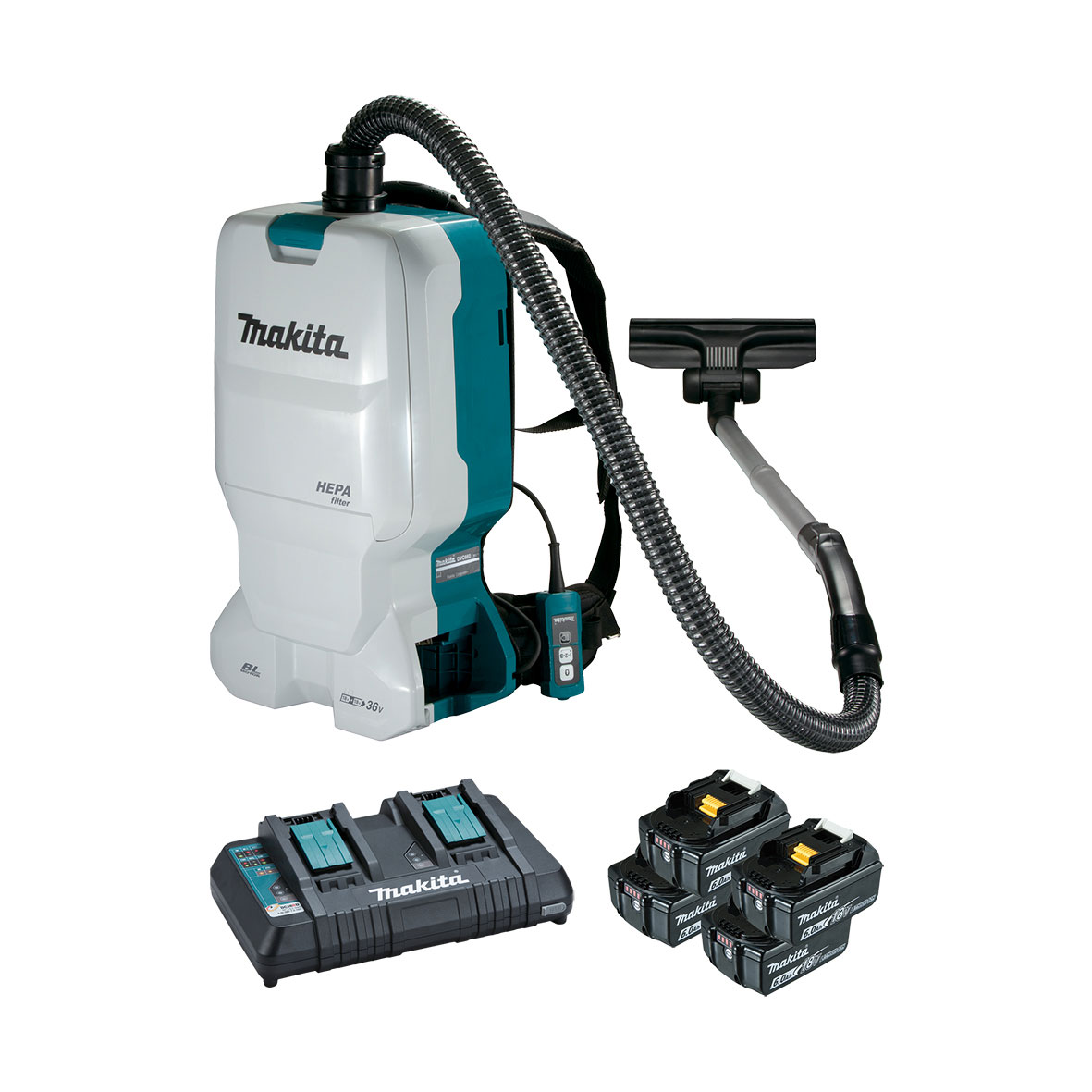 Makita 18Vx2 Brushless Backpack Vacuum Kit supplied with 4x 6.0Ah batteries & dual port charger - DVC660G4X1