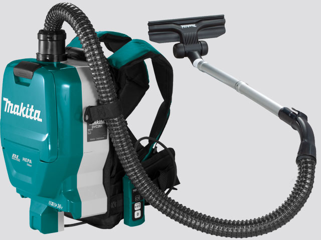 Makita 18Vx2 DVC261 Backpack Vac supplied with 4x 6.0Ah batteries & dual port charger - DVC261GX19