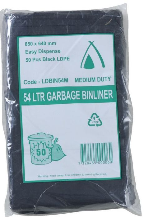Tailored Packaging 54L LDPE Bin Liner Medium Duty Black 250/ctn