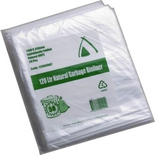 Tailored Packaging 73L HDPE Bin Liner Natural 250/ctn