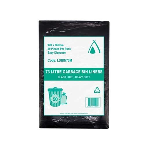 Tailored Packaging 73L LDPE Bin Liner Medium Duty Black 250/ctn